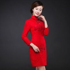 Royal Style - Long-Sleeve Lace Short Cheongsam