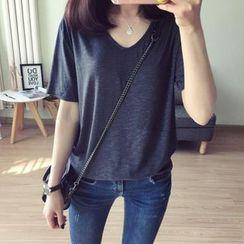 Moon City - Short-Sleeve V-Neck T-Shirt