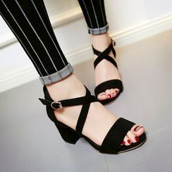 Shoes Galore - Cross Strap Block Heel Sandals