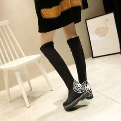 JY Shoes - Lettering Hidden Wedge Over-the-Knee Boots