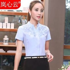 Skyheart - Set: Embroidered Short-Sleeve Shirt + Skirt