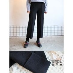 STYLEBYYAM - Band-Waist Seam-Front Wide-Leg Pants