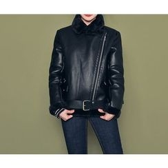 HOTPING - Faux-Leather Shearling Jacket