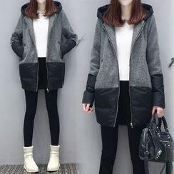 lilygirl - 拼色连帽夹棉大衣