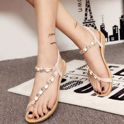 MANMANNI - Beaded Flat Sandals