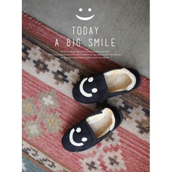 STYLEBYYAM - Smile Print Faux-Suede Slippers