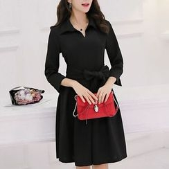 Q.C.T - Long-Sleeve V-Neck Knit A-Line Dress