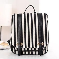 Bibiba - Striped Canvas Backpack