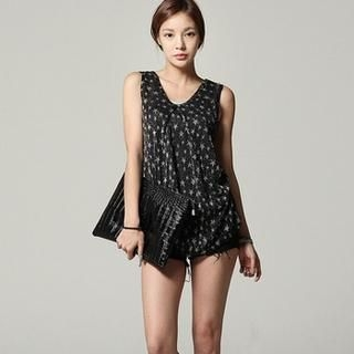 SARAH - Inset Tank Top Glittered Star Print Sleeveless Top