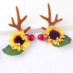 Roseline - Floral Deer Horn Hair Clip