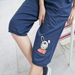 RingBear - Rabbit-Badge Cropped Pants