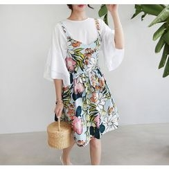 Miamasvin - Floral Cotton A-Line Jumper Dress