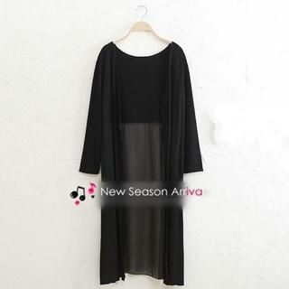JVL - Chiffon-Panel Long Cardigan
