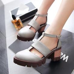 佳美 - T字带厚底高跟鞋