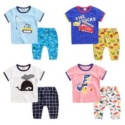 lalalove - Kids Set: Printed Short-Sleeve T-shirt + Pants