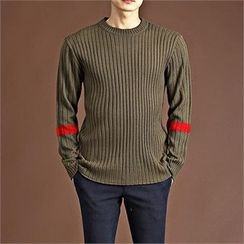 THE COVER - Contrast-Trim Rib-Knit Sweater