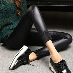 Kojasmine - Faux Leather Fleece-lined PU Slim Sheath Leggings