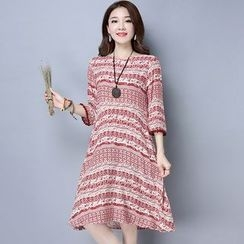 Diosa - Print Elbow-Sleeve Dress