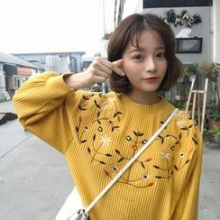 Big Cat - Flower Embroidered Pullover