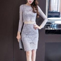 Jolly Club - Set: Cropped Lace Top + Pencil Skirt