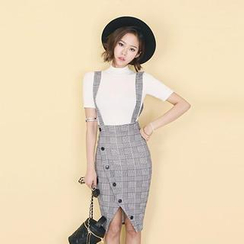 DABAGIRL - Houndstooth Buttoned Suspender Skirt
