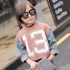 Candy Baby - Kids Number Denim Panel Sweater