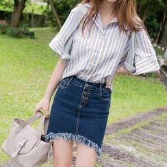 OrangeBear - Button-Down Frayed Mini Denim Skirt