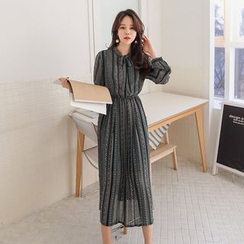 PPGIRL - Tie-Front Pattern Long Dress