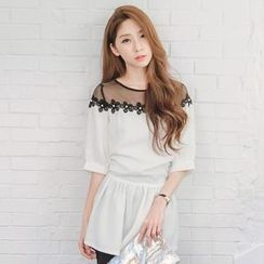 Tokyo Fashion - Elbow-Sleeve Tulle-Panel Flower Top