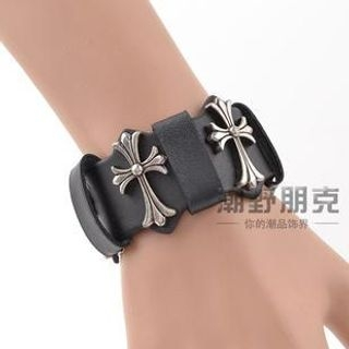 Trend Cool - Cross Accent Faux Leather Bracelet