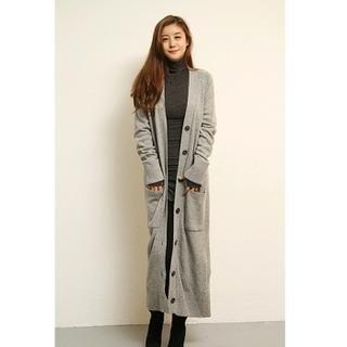 FASHION DIVA - Wool-Blend Dual-Pocket Long Cardigan