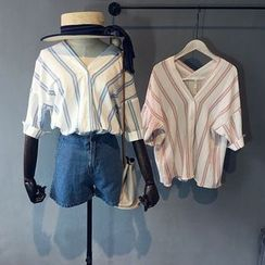 芷蓯夕 - V領細條紋襯衫