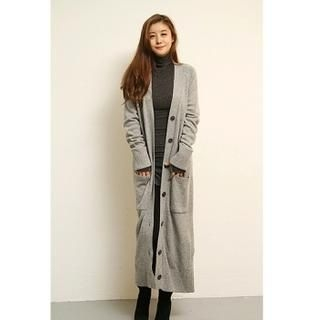 FASHION DIVA - Wool-Blend Dual-Pocket Long Cardigan