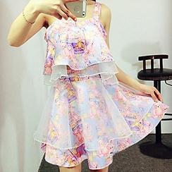 Apalili - Set: Bear Print Sleeveless Flared Top + A-Line Organza Overlay Skirt