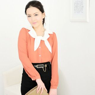 59 Seconds - Contrast-Collar Chiffon Blouse