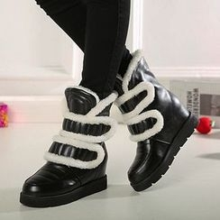 JY Shoes - Hidden Wedge Velcro Snow Boots