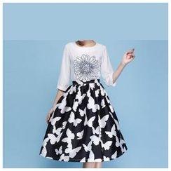 Strawberry Flower - Butterfly Print A-Line Skirt