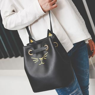 Clair Fashion - Cat Face Embroidered Cross Body Bucket Bag