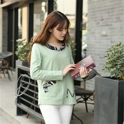 Cobogarden - Patterned Trim Long-Sleeve T-Shirt
