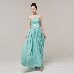 Gracia - Strapless Chiffon Evening Gown