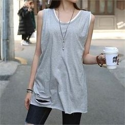 CHICFOX - Distressed Long Tank Top