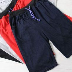 uninukoo - 純色抽繩短褲