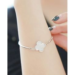 Miss21 Korea - Clover-Charm Silver Bangle