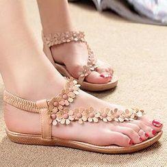 HOONA - 套趾饰花凉鞋
