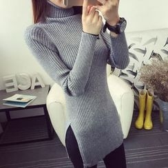 anzoveve - Turtleneck Ribbed Long Knit Top