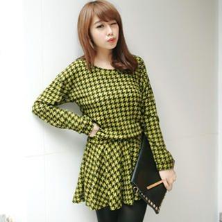 Tokyo Fashion - Patterned Gathered-Waist Knit Dress