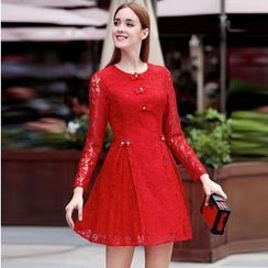 Elabo - Lace Long-Sleeve A-Line Dress