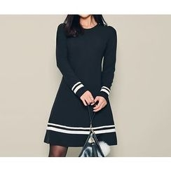 HOTPING - Contrast-Trim A-Line Dress