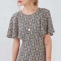 Obel - Frilled Printed Short-Sleeve Dress