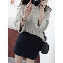 maybe-baby - Mock-Neck Cable-Knit Wool Blend Top